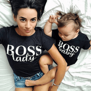 Letter Print Mom And Baby Matching Shirts - Black Matching Family Outfits Kids Now Apparel