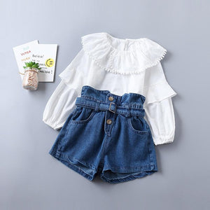 Little Girl Fashion Clothes Long Sleeve Shirt + Denim Pants Clothing Sets Kids Now Apparel