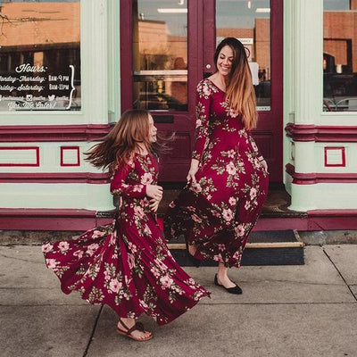 Long Sleeves Floral Print Dress Coordinating Mother Daughter Outfits Matching Family Outfits Kids Now Apparel