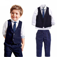 Long Sleeves + Vest +Pants + Tie Set Formal Attire For Boys Kids Now Apparel