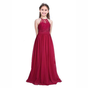 Lovely Halter Pleated Girls Party Lace Long Dresses Kids Now Apparel
