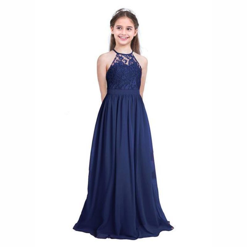 6319567fcb8 Lovely Halter Pleated Girls Party Lace Long Dresses Kids Now Apparel