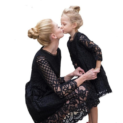 Matching Mommy And Me Dress Quarter Sleeve Lace Dress Matching Family Outfits Kids Now Apparel