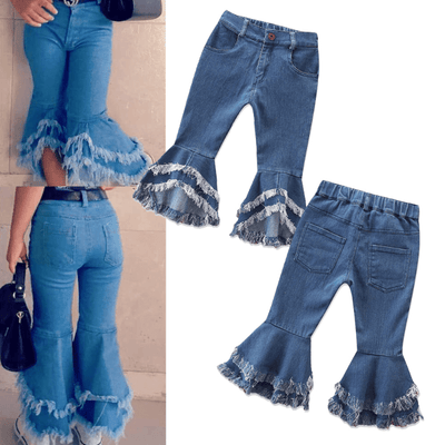 Med Waist Denim Flared Girls Bell Bottom Jeans Jeans Kids Now Apparel