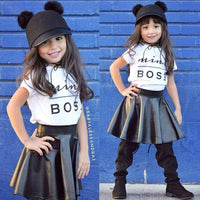 Mini Boss Print Tees+Leather Skirt Trendy Toddler Girl Clothes Kids Now Apparel