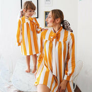 Mommy And Me Matching Dress Mommy And Me Matching Outfits Yellow Dress Stripe Matching Family Outfits Kids Now Apparel