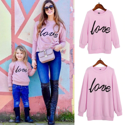 Mommy And Me Sweaters Letter Print Pullover Matching Family Outfits Kids Now Apparel