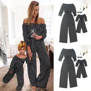 Off Shoulder Striped Long Sleeve Cute Mom And Daughter Outfits Matching Family Outfits Mother & Children Clothes Store