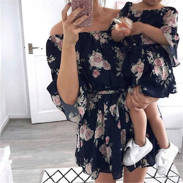 Off The Shoulder Summer Dress Mommy And Baby Girl Matching Outfits Matching Family Outfits Kids Now Apparel