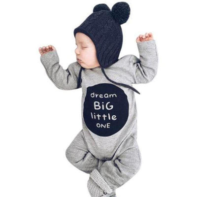 Overall Letter Print Baby Long Sleeve Rompers Rompers Kids Now Apparel