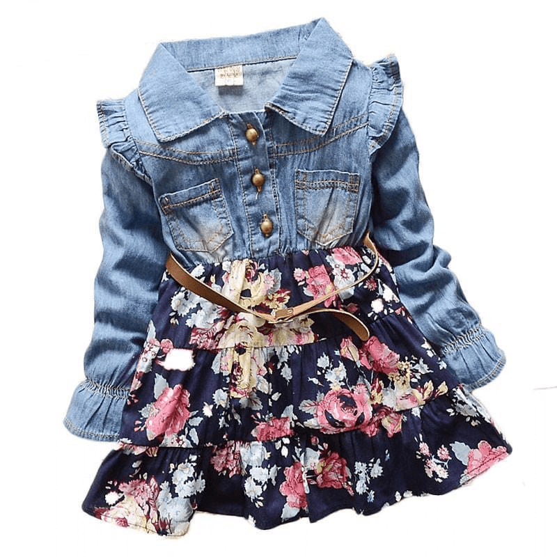 Patchwork Denim Floral Girls Kids Dresses Kids Now Apparel