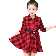 Plaid Dress For Girl Long Sleeve Shirt Dress With Belt Dresses Kids Now Apparel