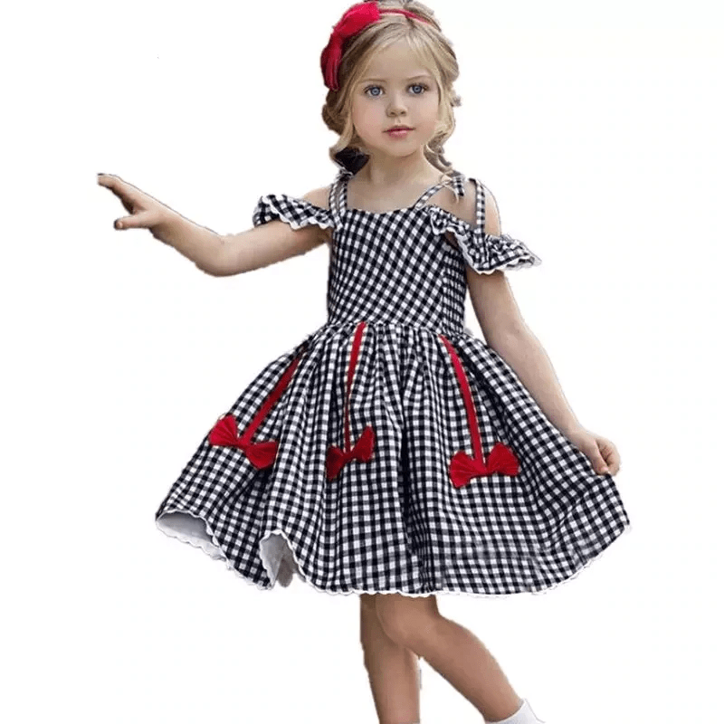 Plaid Dress For Girls Off Shoulder Sleeveless Dress Dresses Kids Now Apparel