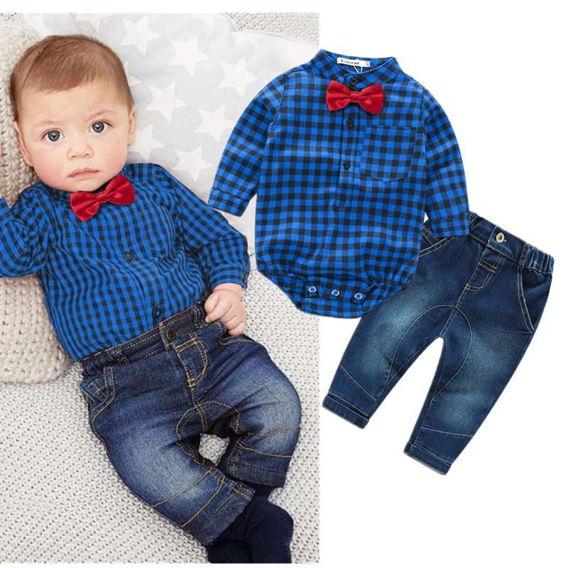 7047060f8176 Plaid Rompers Shirts+Jeans Stylish Baby Boy Clothes Set Kids Now Apparel