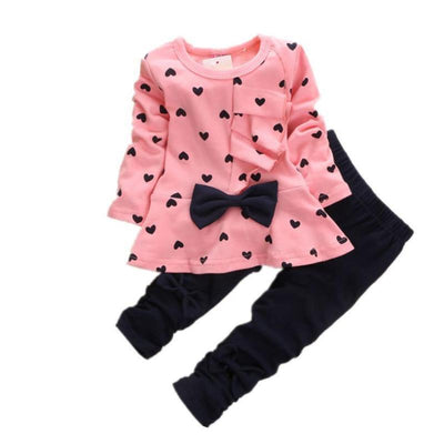 Printed Long Sleeve Top+Black Pants Kids Wear Set Kids Now Apparel