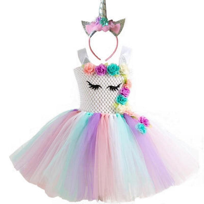 Rainbow Floral Tutu Girls Unicorn Dress With Hair Hoop Girls Costumes Kids Now Apparel