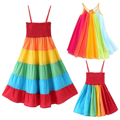 Rainbow Girl Clothes Off Shoulder Toddler Girl Summer Dresses Dresses Kids Now Apparel