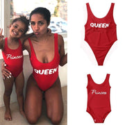 Red One Piece Swimsuit Letter Print Mommy And Me Swimwear Matching Family Outfits Kids Now Apparel