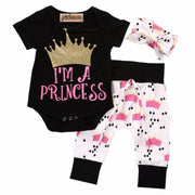 Rompers+Pants+Headband Girl Outfits Clothing Sets Kids Now Apparel