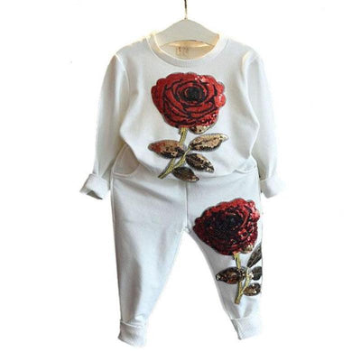 Rose Floral Applique Sportswear Children Clothing Sets Kids Now Apparel