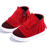 Round Toe Zip Ankle Fringe Shoes For Girls Kids Now Apparel