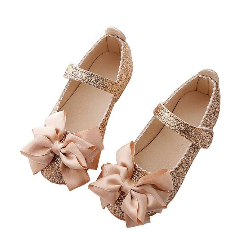 Sequins Bowknot Leather Little Girl Party Shoes Leather Shoes Kids Now Apparel
