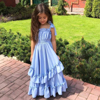 Sky Blue Tiered Ruffle Pleated Girls Long Sundress Kids Now Apparel