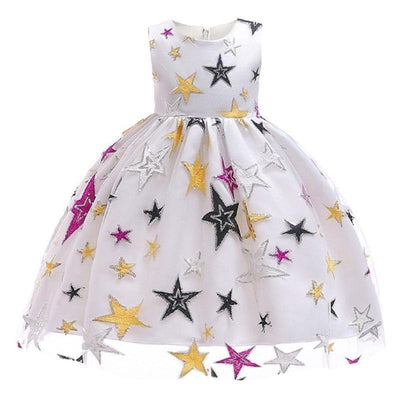 Sleeveless Mesh Pleated Kids Embroidered Star Dress Dresses Kids Now Apparel