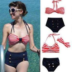 Stripe Bowknot Top + High Waist Matching Bathing Suit Kids Now Apparel