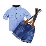 Stripe Top Suspender Shorts Two Piece Clothing Sets For Boy Kids Now Apparel