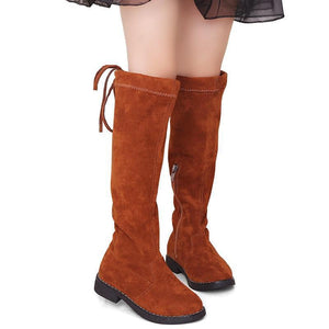 Suede Round Toe Toddler Girl Flat Knee High Boots Boots Kids Now Apparel