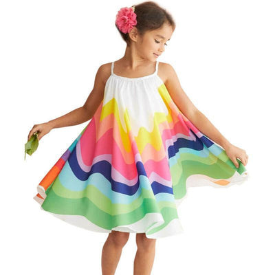 Summer Dress For Girls Rainbow Print Mini Dress Dresses Kids Now Apparel