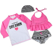 Summer Girls Letter Print Three Pieces Bathing Suits Kids Now Apparel
