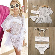 Summer Lace Bikini Set + Cover up Swimsuit Toddler Bathing Suit Girl Children's Two-Piece Suits Kids Now Apparel