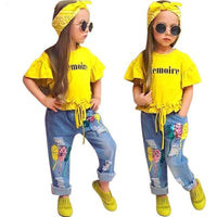 T-Shirt+Pants+Headband Set Fashion Girl Clothes Kids Now Apparel