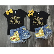 Toddler Girl Outfit Sets T-shirt Tops + Denim Short Clothing Sets Kids Now Apparel