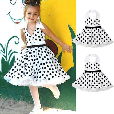 Vintage Lace Ruffle Polka Dot Dress for kids Dresses Kids Now Apparel