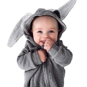 Warm Bunny Ear Hooded Baby Cotton Infant Rompers Kids Now Apparel