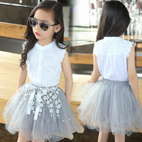 White Lace Top +Tutu Skirts For Girls Set Kids Now Apparel