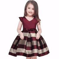 Wine Red And Blue Stripe Formal Girl Dresses With Belt Kids Now Apparel