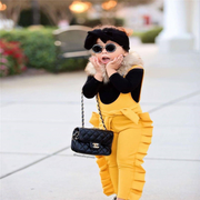 Yellow Jumpsuits Toddler Girl Ruffle Romper Clothing Sets Kids Now Apparel