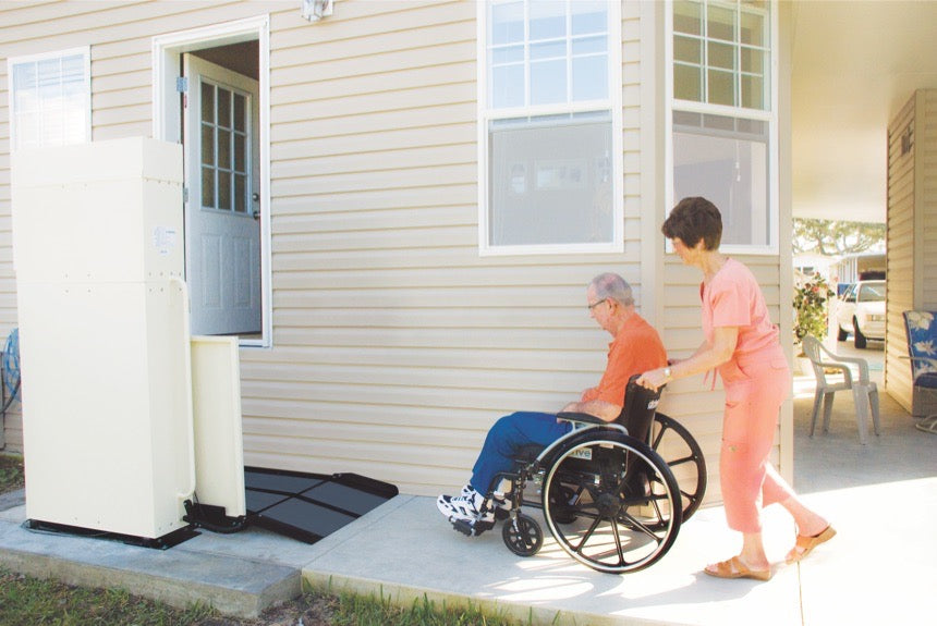 Harmar Residential Vertical Platform Lift 600 lbs Capacity - loading wheelchair