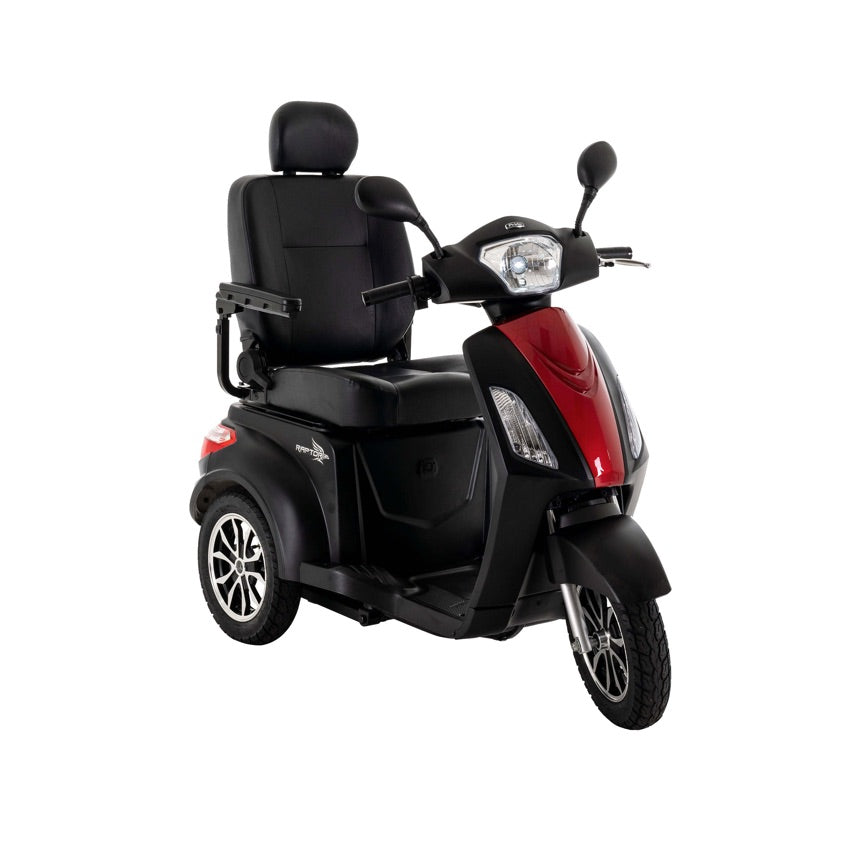 Pride Mobility Raptor (Black) 3-Wheel Scooter - Candy Apple Red