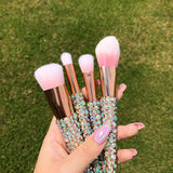 Rose Gold + Iridescent Crystals Vegan Makeup Brush Set