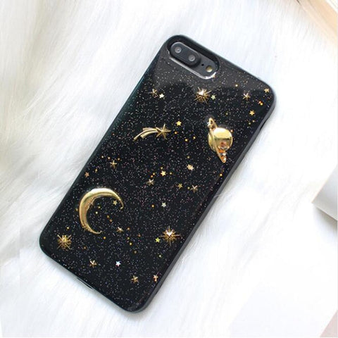 Gold Moon Stars and Saturn Phone Case