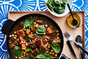 VEGAN LENTIL, SWEET POTATO, AND CHICKPEA STEW