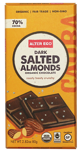 Alter Eco Dark Salted Almonds Chocolate Bar 80g