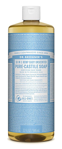Dr. Bronner's Unscented Baby Mild Soap 944ml