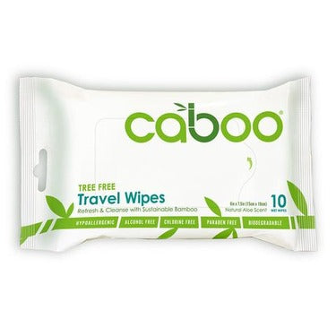 Caboo Travel Wipes Natural Aloe Scent (10 Wipes)