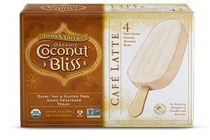 Coconut Bliss Frozen Dessert Bars Cafe Latte (4 Bars)